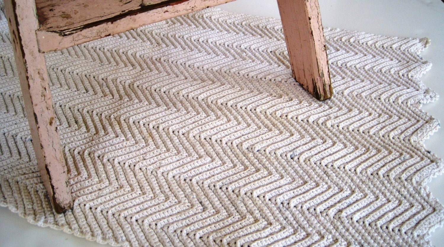 Vintage handmade rope rug heavyweight cotton natural for Rope carpet