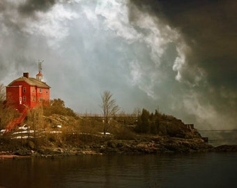 Storm photograph, lighthouse, home decor, Gallery Wrap Fine Art Photograph