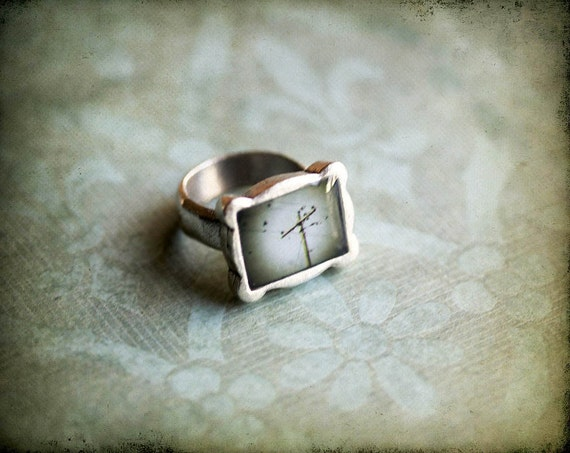 Industrial Ring, birds on a wire, Photo Jewelry - Size 7.5, original photography, Ready to Ship,