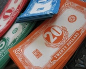 Vintage Play Money in Red, Orange, Blue and Green
