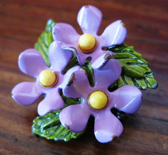 Vintage Enamel Vilolet Brooch in Purple, Green and Yellow