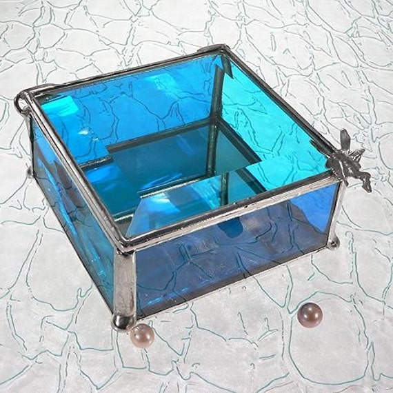 Aqua Blue Stained Glass Jewelry Box with Fairy Handle or Handle of your choice.