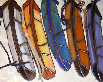Feather Stained Glass Suncatcher