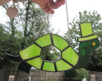 Stained GlassTurtle  Suncatcher or Ornament