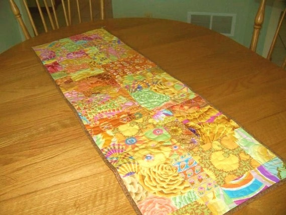 Sunshine - Golden Yellow Quilted Table Runner, Kaffe Fassett Fabrics