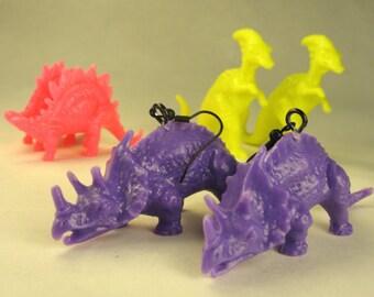 One pair Purple dino Earrings