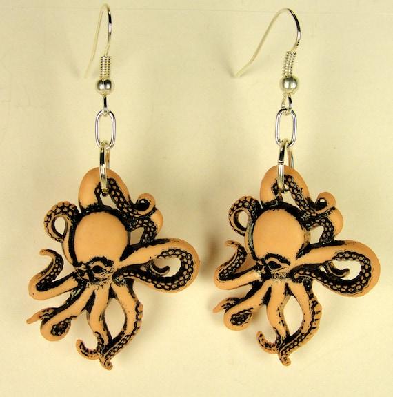 ON SALE-50% OFF-Pink Octopus Earrings