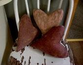 Primitive Simple Old Worn Valentine Hearts. WOW.