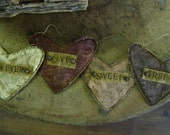 Primitive Valentine Flat Heart Ornaments.