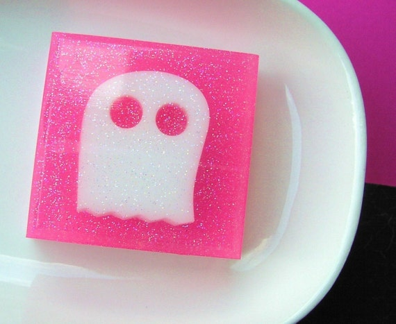 SALE Soap. Teen Girl Gift. Mrs. Boo the Soap Ghost. Cotton Candy Scented. Halloween, Hot Pink, Children Gifts, Final Bar, Teen Gifts