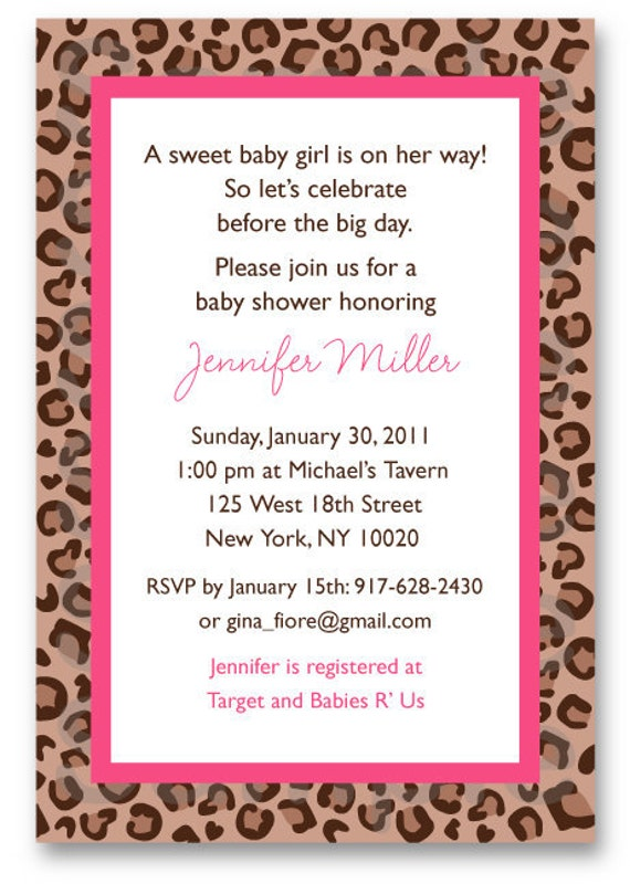 pink cheetah baby shower invitation by littleprintsparties on etsy