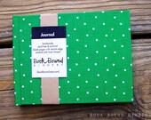 Hardback Blank Journal - green\/white polka dot cover