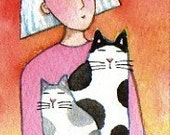Cat Lady,  Spotted Cat  & Kitten/ ACEO Mini Watercolor Painting by Susan Faye