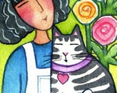 Tabby Cat and Garden Goddess Art... Original ACEO Watercolor Painting