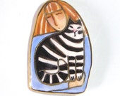 Tabby and Redhead Cat Lady Porcelain Brooch... Wearable Art Pin with Gold Trim