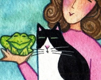 Cat Art ACEO/ Tuxedo Kitty, Cat Lady & Frog/ Miniature Watercolor Painting