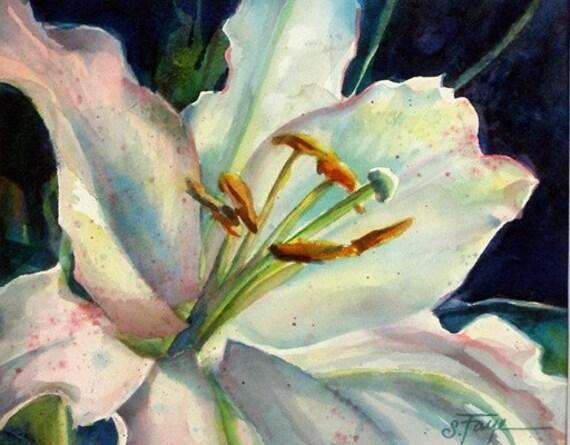 Garden Lily Watercolor Painting... Original Floral Art