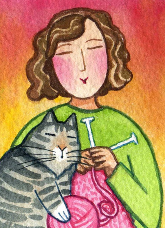 Cat Lady Knitting : Knitting cat lady and tabby kitty original aceo miniature