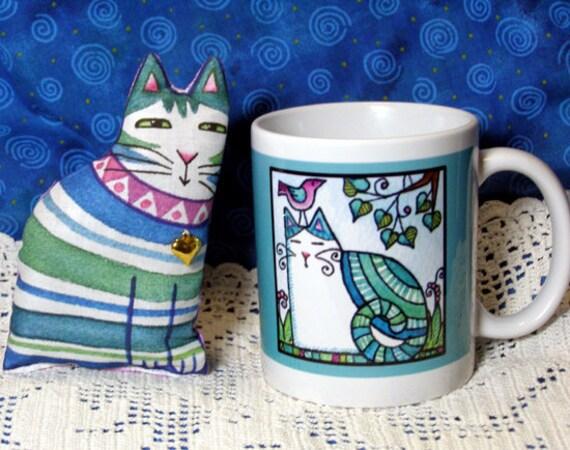 Cat Mug and Lavender Sachet Gift Set in Aqua Blues