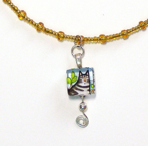 SALE... Tabby Cat Beaded Choker... Wearable Art Jewelry