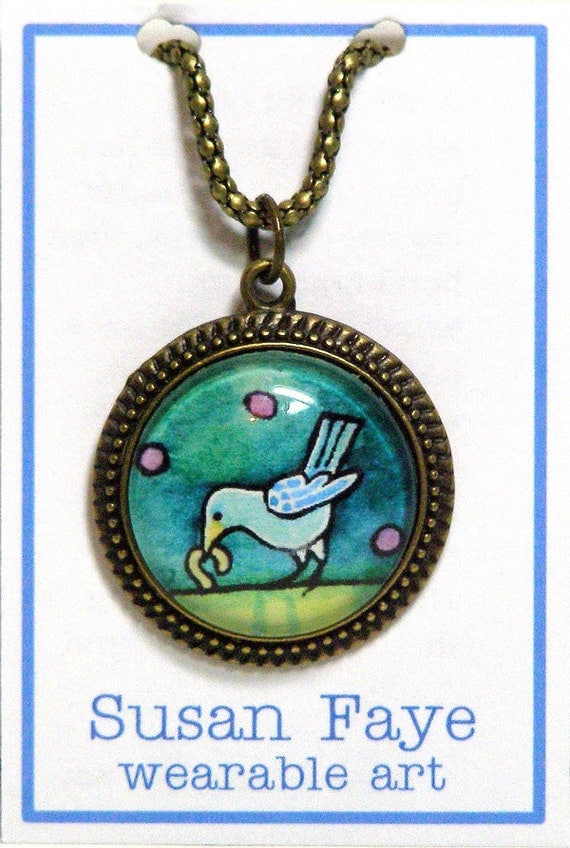 SALE... Early Bird Necklace... Glass Pendant in Bronze Setting
