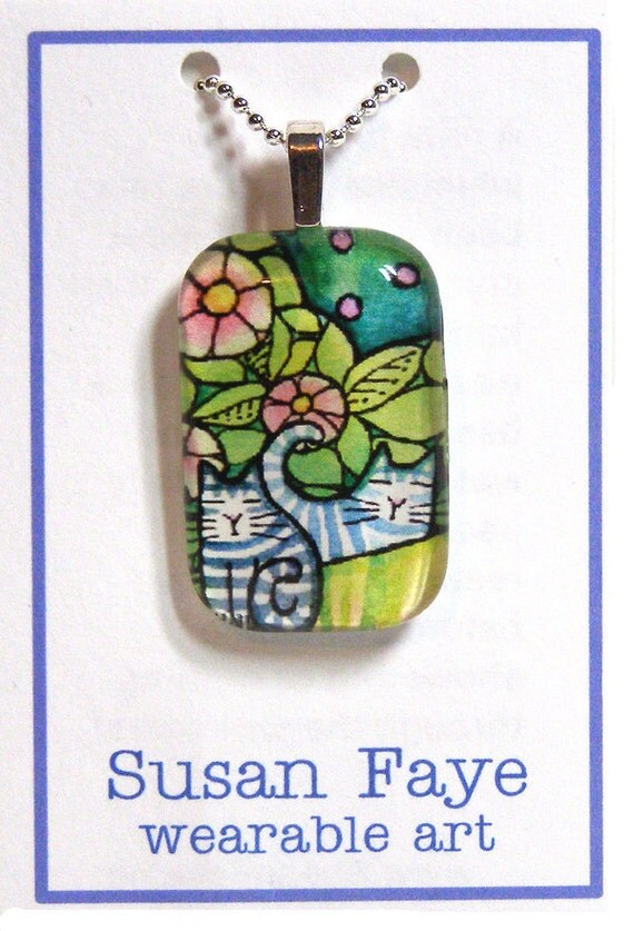 Tabby Cat Kittens Glass Pendant...  Handcrafted Wearable Art Jewelry
