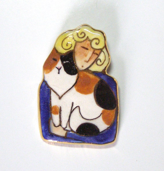 Calico Cat Lady Porcelain Brooch... Wearable Art Pin with Gold Trim