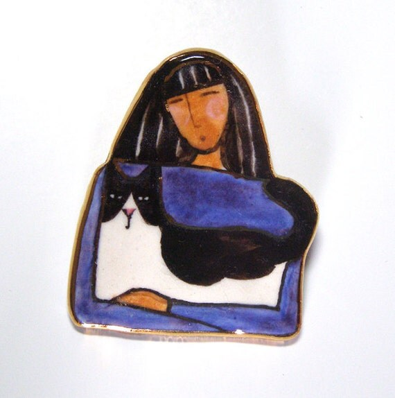 Cat Lady Jewelry/ Porcelain Brooch/ Wearable Art Pin with Gold Trim