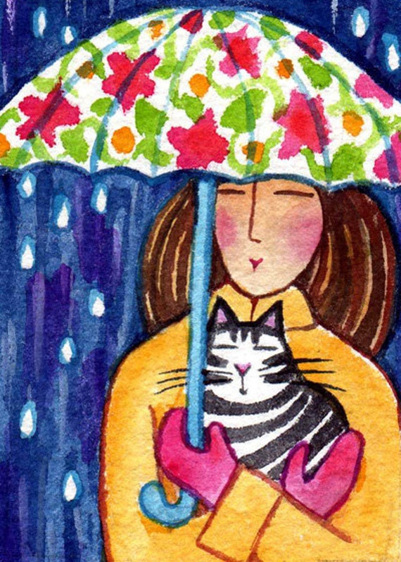 Cat Lady ACEO Art Card/  Tabby Cat/  Original Miniature Watercolor Painting by Susan Faye