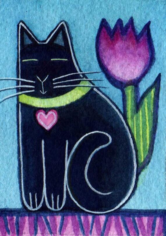 Black Cat Kitten and Tulip Original ACEO Art Watercolor painting...
