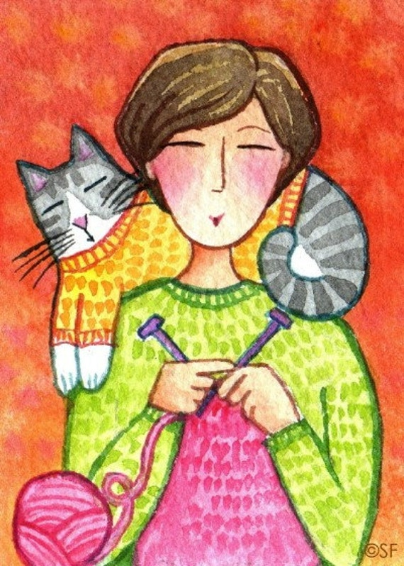Cat Lady Knitting : Knitting cat lady and tabby original aceo art mini
