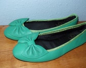 sea foam  teal green flats with bow size 7.5 8