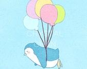 Dreaming of Flying, Penguin and Balloons - 8 x 10 Matte Lustre Art Print