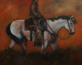 11x14 Canvas Western Texture Painting Southwest Horse and Rider