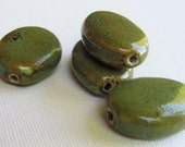 Large Green Ceramic Beads x 4 (30mm)