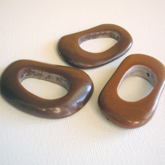 Resin Beads, Earthy Brown Bedrock Resin Beads, Chunky Beads, Large Beads, 46 mm x 22mm (3)