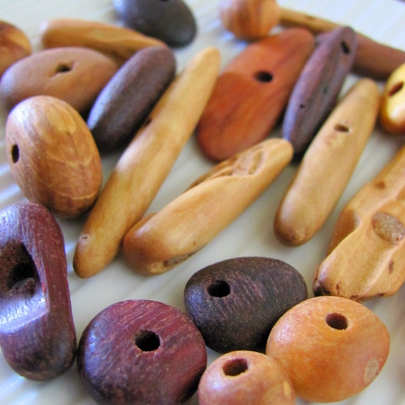 RESERVED for Jess - Small Australian Recycled Wooden Beads x 40