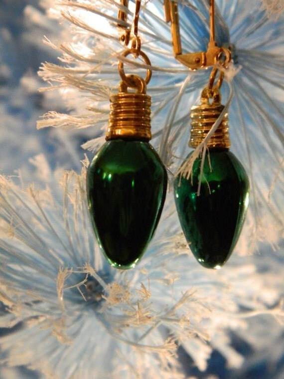 Green Bulb Christmas Earrings