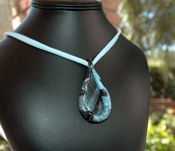 Midnight Tear Drop Polymer Clay Necklace by cjBlue