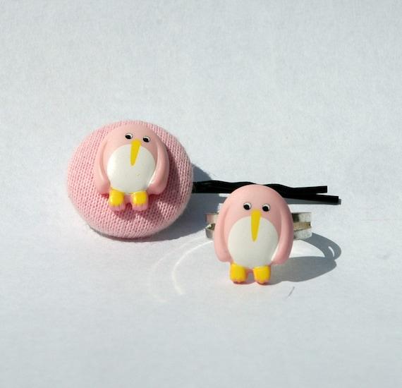 Pink Penguin Hair Pin and Ring Set