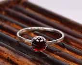 Garnet Ring, January Birthstone Ring, Sterling Silver Ring, Handmade Ring