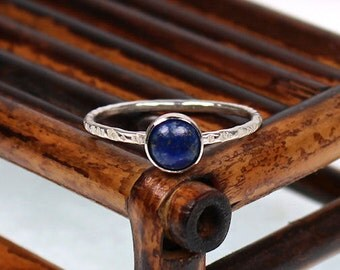 Lapis Lazuli Ring,  Hand Textured Band, Sterling Silver Ring, Stackable Ring