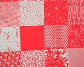 Patchwork II fabric in Flamingo by Umbrella Prints, 50cm x 140cm