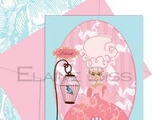 Pinksicles TM Pink and Blue Marie Antoinette French Paris Card Set of 8