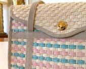 Vintage 80s Pink and Blue Detailed Straw Handbag