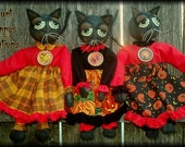 Primitive Folk Art Black Halloween Mini Cat Kitty Pattern