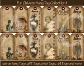 Primitive Vintage Kids Children Costume Image Printable Hang Tags for Scrapbooking Art