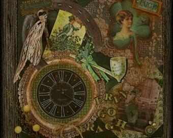 Primitive Vintage Collage Altered Art Mixed Irish Media