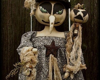 Primitive Halloween Witch Doll Pattern with Potion Bottles and Crabby Pumpkin too