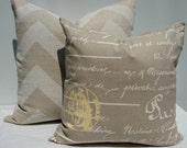 "Taupe, cream and yellow script pillow cover to fit 18"" x 18"" pillow form"